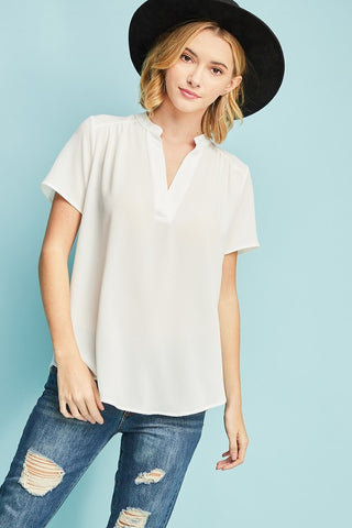 Cara V-Neck Top in White