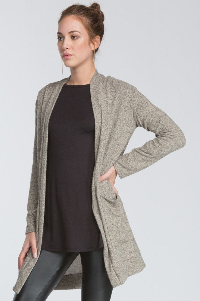 Chelsea Long Open Cardigan in Taupe - ROUTE 32