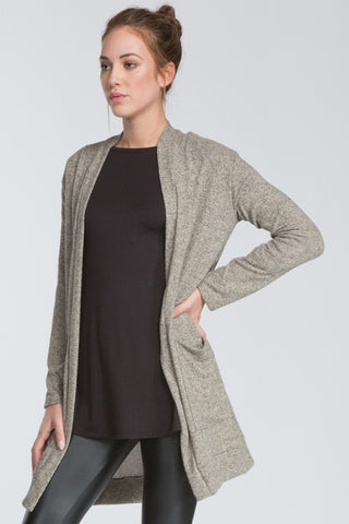 Chelsea Long Open Cardigan in Taupe