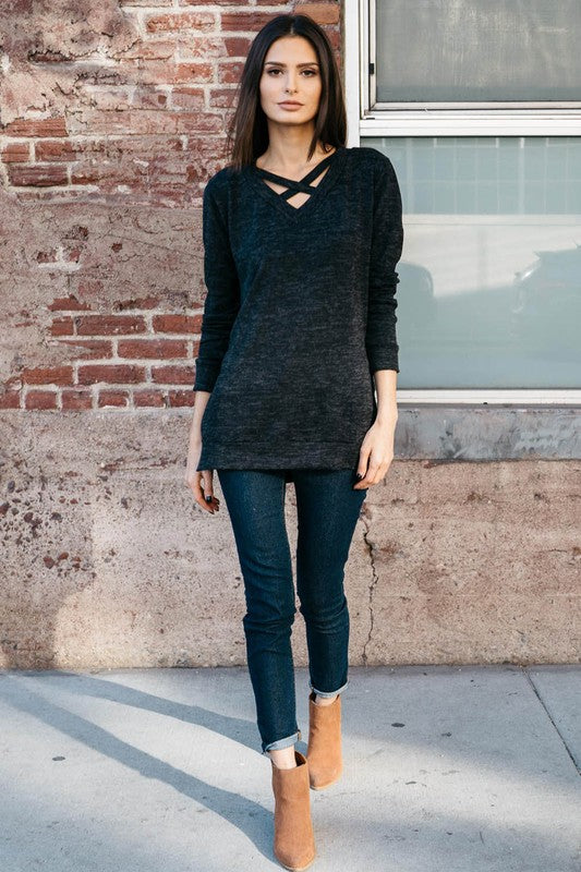 Criss Cross Front Sweater in Charcoal - ROUTE 32