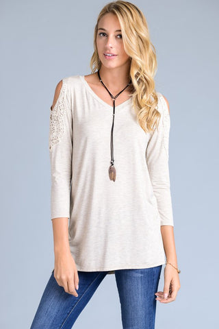 Crochet Cold Shoulder Top in Sand