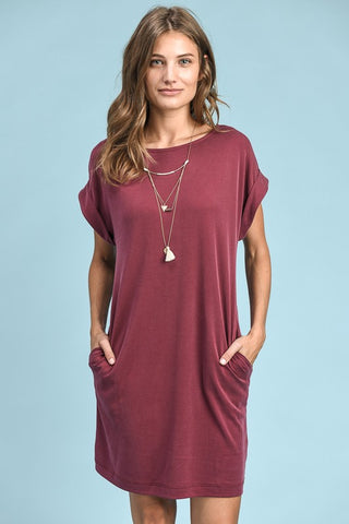 Cuffed Sleeve T-Shirt Dress