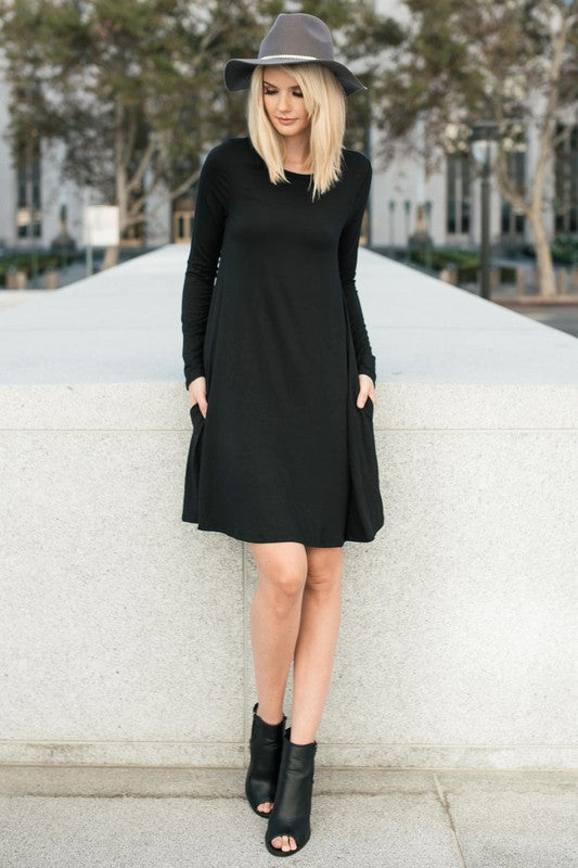 Date Night Long Sleeve Shift Dress in Black - ROUTE 32