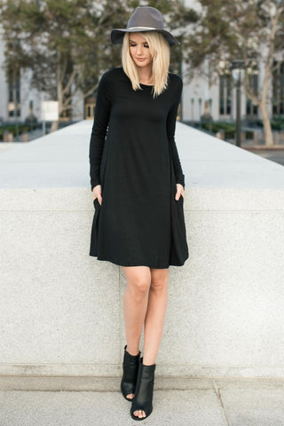 Date Night Long Sleeve Shift Dress in Black