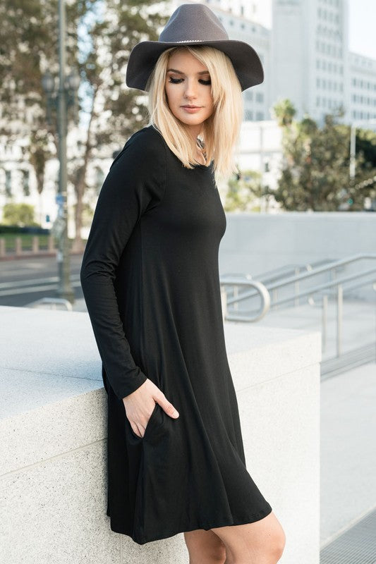 Buy Date Night Long Sleeve Shift Dress In Black At Route 32 For Only
