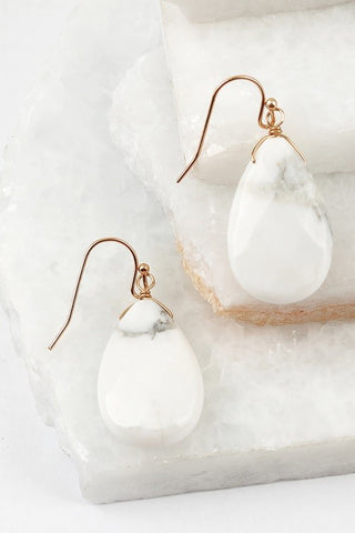 Drop Earrings - Marble White