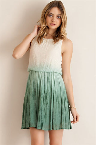 Ombre Crinkle Dress in Sage