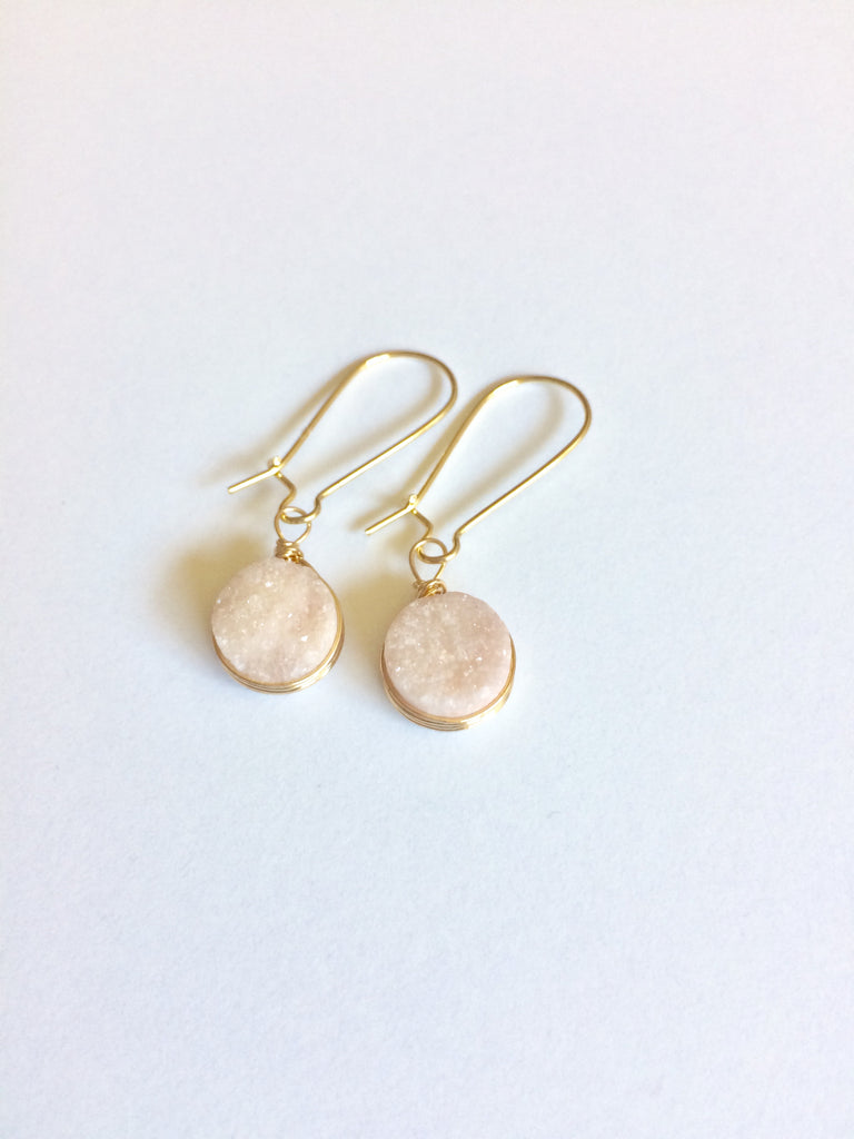 Textured Stone Hook Earrings - Whisper