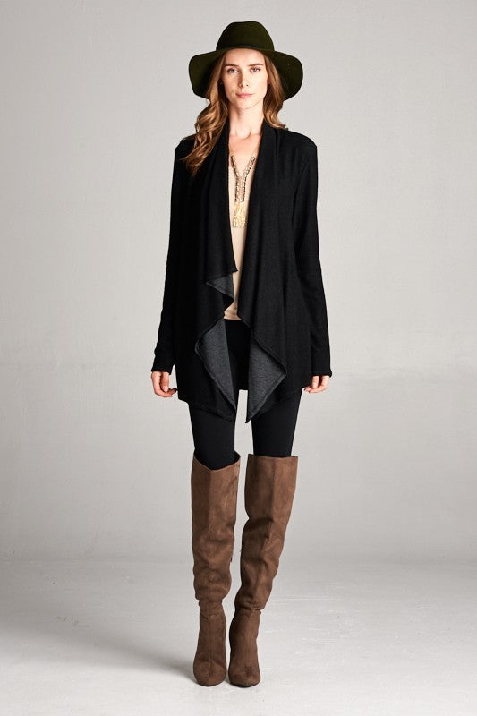 Reversible Boho Cardigan in Black/Charcoal - ROUTE 32