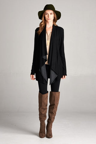 Reversible Boho Cardigan in Black/Charcoal