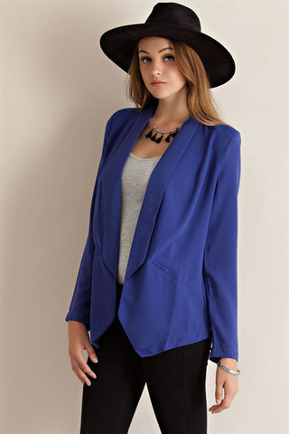 Lighweight Open Blazer in Cobalt