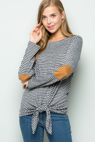 Josie Elbow Patch Twist Top