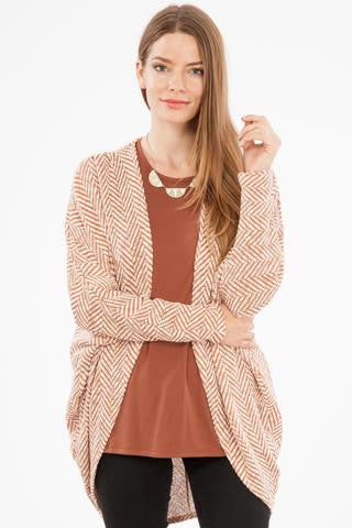 Herringbone Open Cardigan in Spice