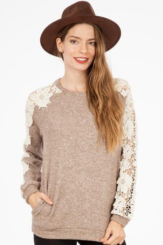 Lace Sleeve Sweater in Taupe