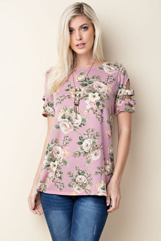 Kate Cutout Shoulder Floral Top