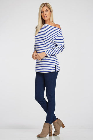 Kira Striped Tunic in Cobalt