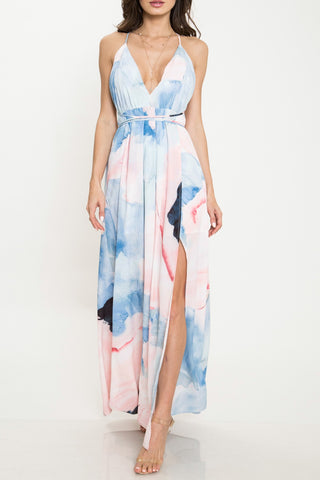 Eva Watercolor Plunge Dress