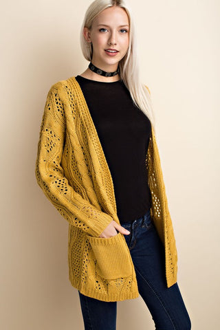 Crochet Cardigan in Mustard