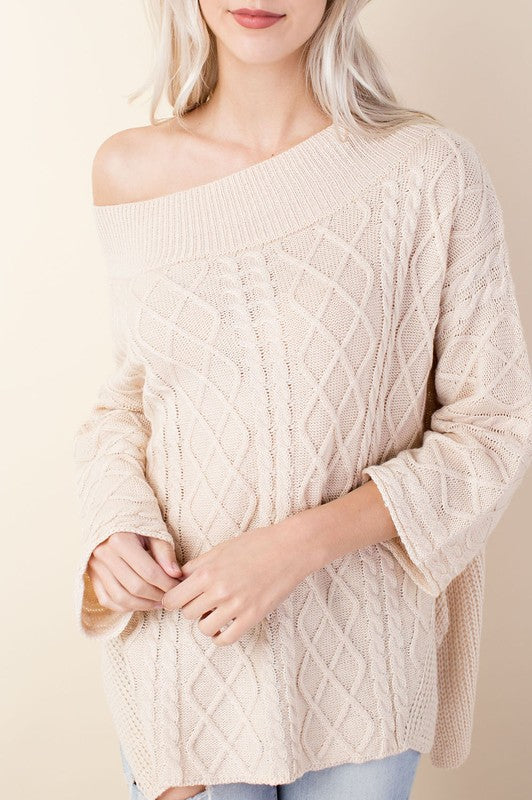 Buy Oversized Cableknit Sweater In Cream At Route 32 For Only 1999