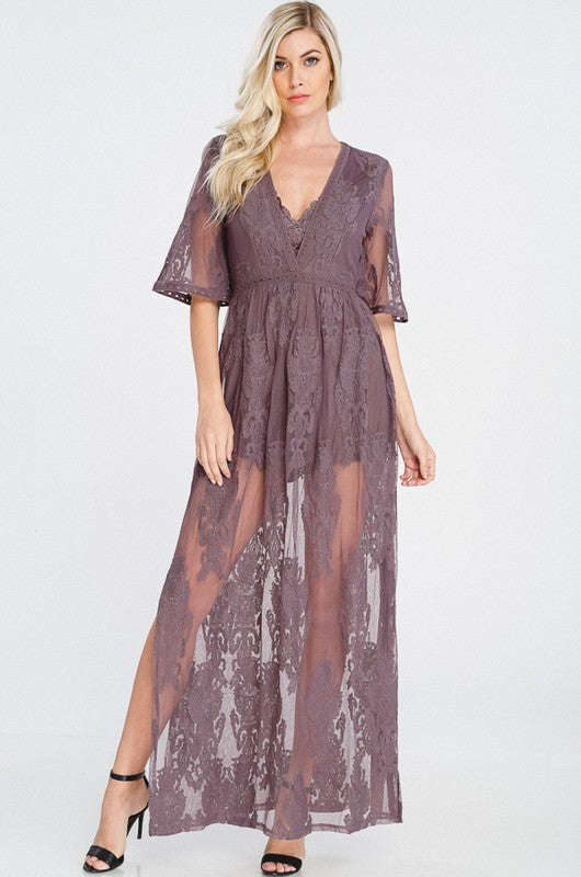 Lace Plunge Maxi Dress in Purple