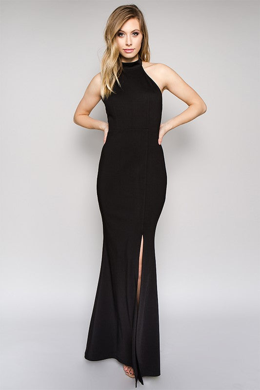 Long Mock Neck Slitted Dress in Black - ROUTE 32