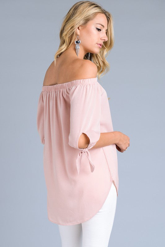 May Off-the-Shoulder Tie-Sleeve Top in Blush - ROUTE 32
