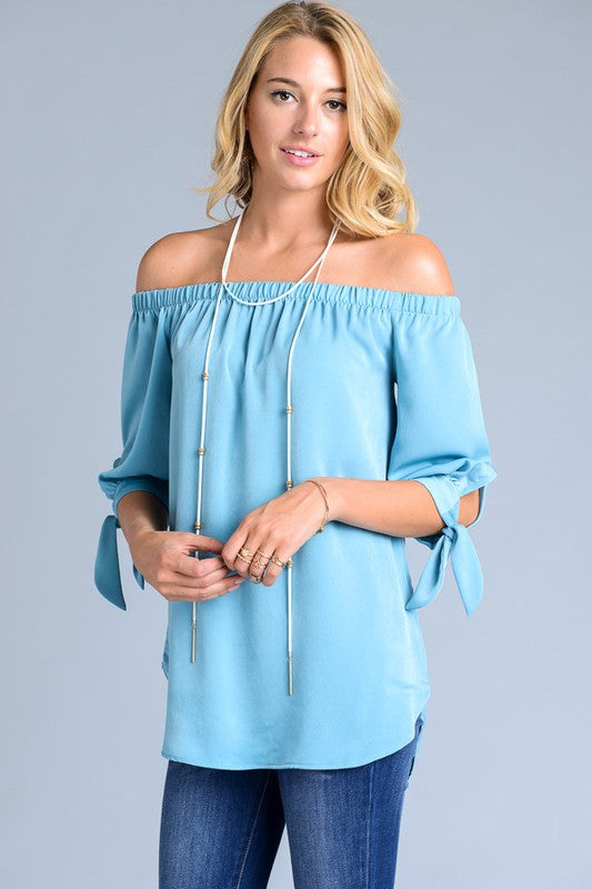 May Off-the-Shoulder Tie-Sleeve Top in Sky - ROUTE 32