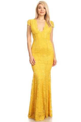 Mayra Lace Dress in Yellow