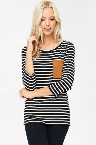 Milly B&W Striped Pocket Top