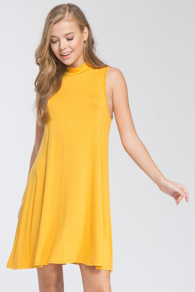 Mock Neck Dress in Marigold - ROUTE 32