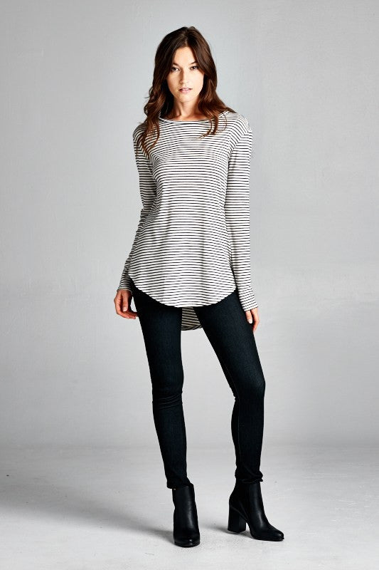 Elbow Patch Striped Long Sleeve Tee