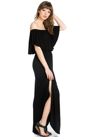 Off the Shoulder Maxi Dress in Black