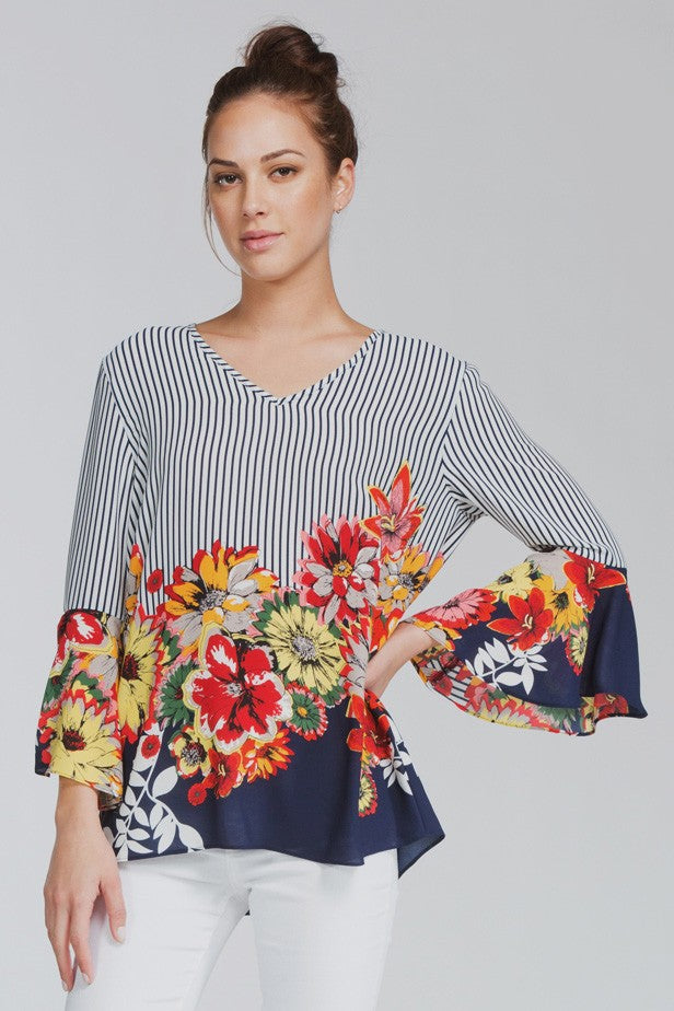 Quinn Floral + Stripe Bell Sleeve Top