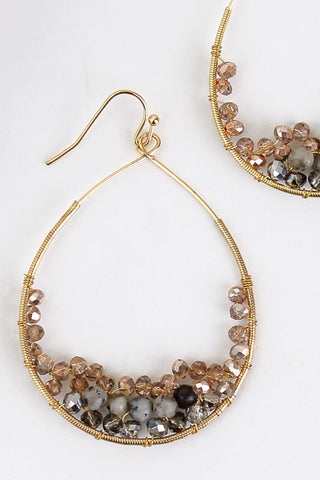 Rose Gold Beaded Drop Earrings