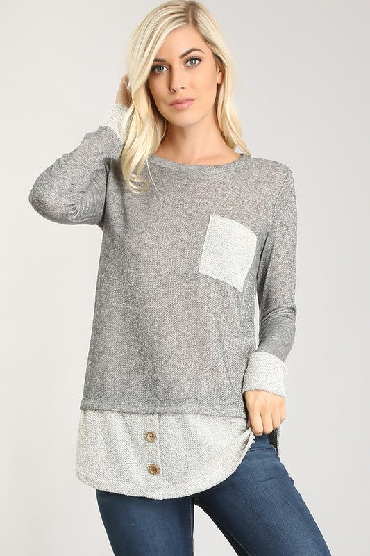 Double Layer Button and Pocket Tunic