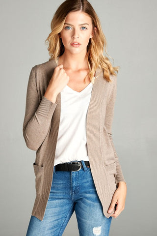 Ribbed Hem Cardigan With Pockets in Taupe