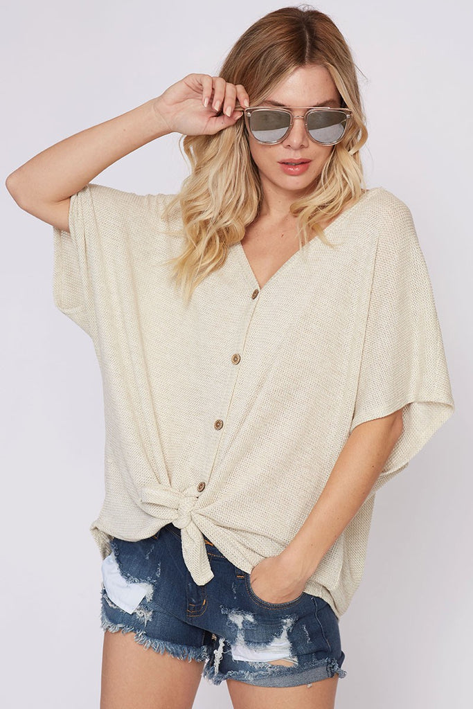 Samara Button and Knot Top in Sand - ROUTE 32