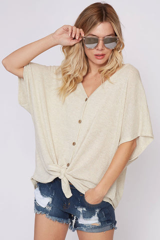 Samara Button and Knot Top in Sand