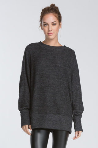 Savannah Banded Tunic Sweater in Charcoal