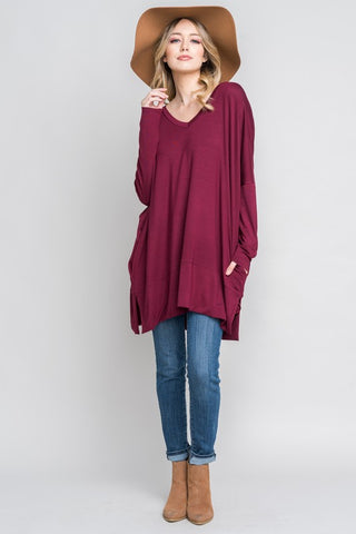 Slouchy Pocket Tunic in Burgundy