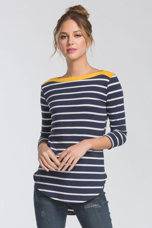 Striped Contrast Top - Navy/Yellow - ROUTE 32
