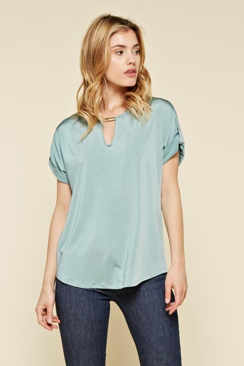 Cuffed Top in Sage