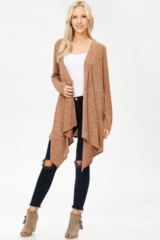 Long Asymmetrical Cardigan in Camel