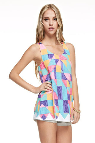 Geometric Crayon Print Top