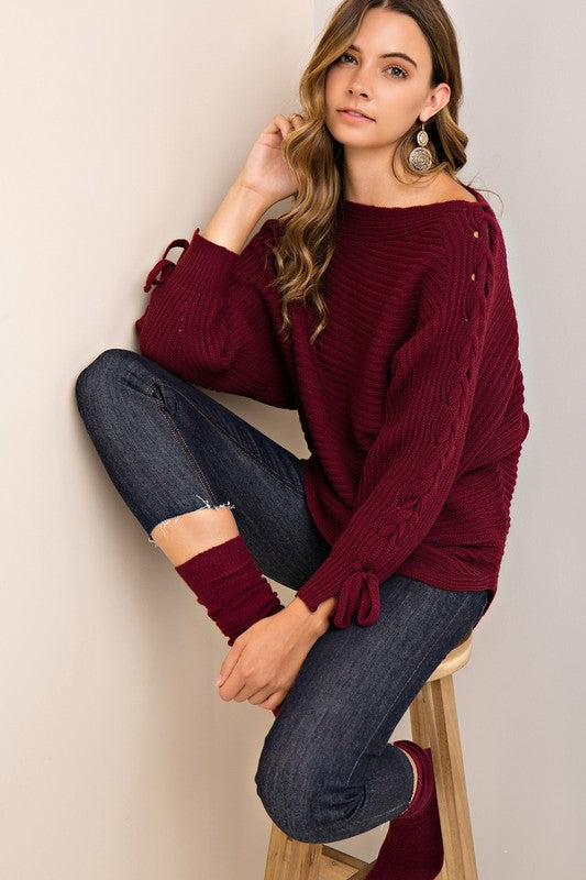 Lace-up Sweater in Burgundy - ROUTE 32