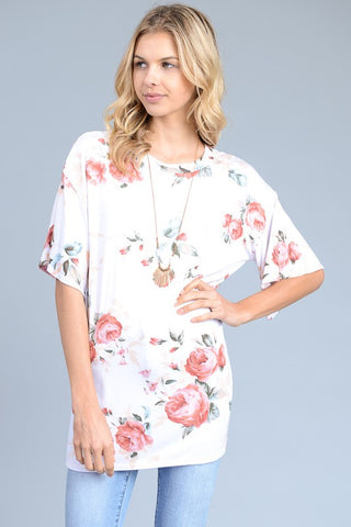 Tyra Flutter Sleeve Floral Tunic