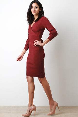 Devon Ribbed Knit Surplice Dress