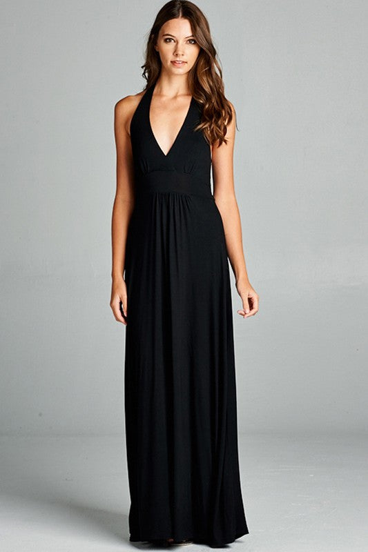 V-Neck Maxi Dress in Black - ROUTE 32