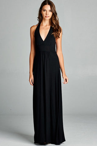 V-Neck Maxi Dress in Black