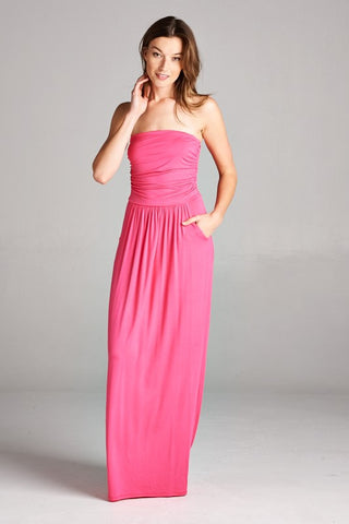 Strapless Pocket Maxi Dress in Pink